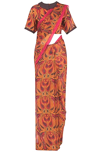 Orange and Grey Printed Saree with Blouse by Latha Puttanna
