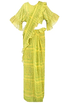 Yellow and Green Printed Saree with Blouse by Latha Puttanna