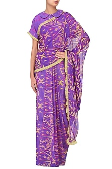Purple Printed Saree with Blouse by Latha Puttanna