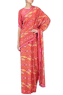 Pink Printed Saree with Blouse by Latha Puttanna
