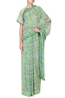 Green Printed Saree with Blouse by Latha Puttanna