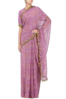 Off White and Mauve Printed Saree with Blouse by Latha Puttanna