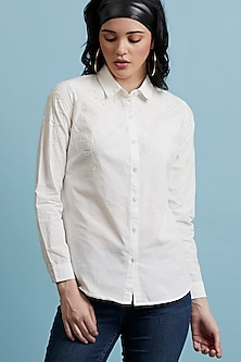 White Embellished Checkered Shirt by Label Ritu Kumar