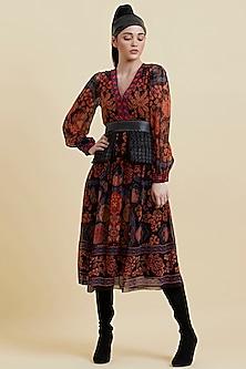 Black Printed Embellished Dress by Label Ritu Kumar