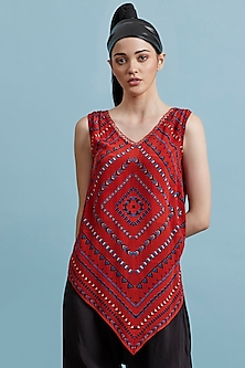 Red Printed Embellished Top With Camisole by Label Ritu Kumar