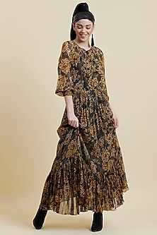Olive Green Printed Dress With Camisole by Label Ritu Kumar