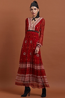 Red Tie-Dye Printed Dress by Label Ritu Kumar