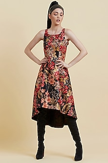 Red Printed Sleeveless Dress by Label Ritu Kumar