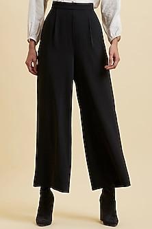 Black Straight Pants by Label Ritu Kumar