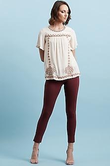 Burgundy Slim Fit Jegging Pants by Label Ritu Kumar