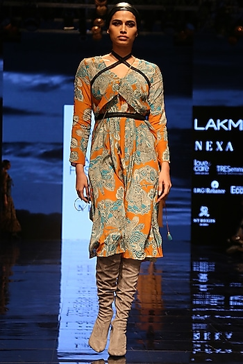 Orange Printed Embellished Dress With Camisole by Label Ritu Kumar