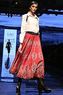 Red Printed Flared Skirt by Label Ritu Kumar