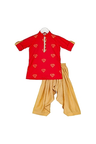 Red & Beige Sequins Embroidered Kurta Set by Little Stars