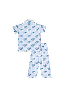 Blue Elephant Printed Nightsuit Set by Little Stars