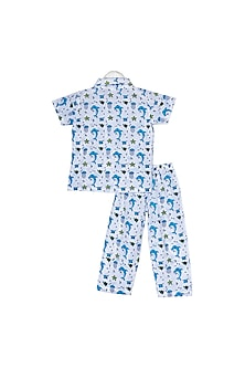 Blue Marine Life Printed Nightsuit Set by Little Stars