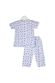 White Candies & Sweets Printed Nightsuit Set by Little Stars