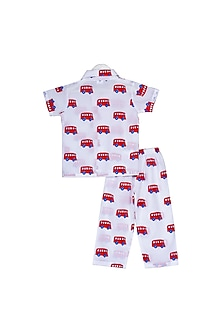White Red Bus Printed Nightsuit Set by Little Stars