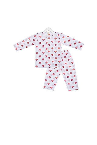 White Super Pink Printed Night Suit Set by Little Stars