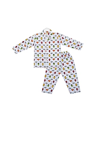 White Superhero Printed Night Suit Set by Little Stars