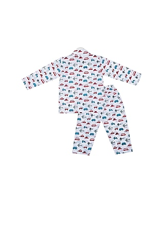 White Transport Printed Night Suit Set by Little Stars