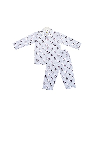 White Unicorn Printed Night Suit Set by Little Stars