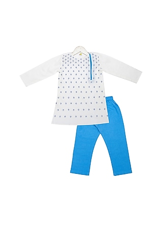 White & Blue Hand Embroidered Kurta Set by Little Stars