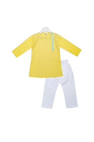 Yellow Hand Embroidered Kurta Set by Little Stars