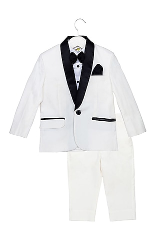 White & Black Tuxedo Set With Black Bow by Little Stars