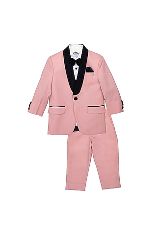 Pink & Black Tuxedo Set With Bow by Little Stars