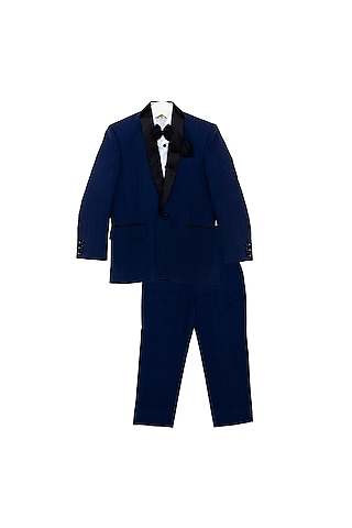 Navy Blue Tuxedo Set With Black Bow by Little Stars