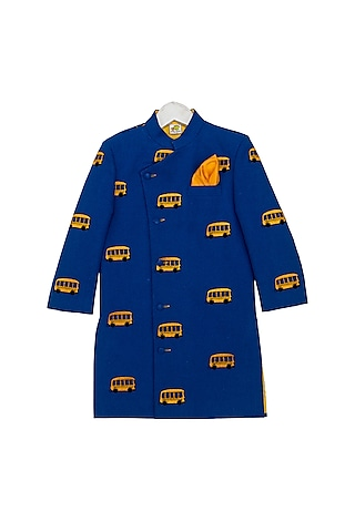 Navy Blue Embroidered Sherwani Set by Little Stars