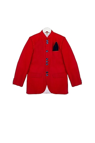 Tomato Red Bandhgala Jacket by Little Stars