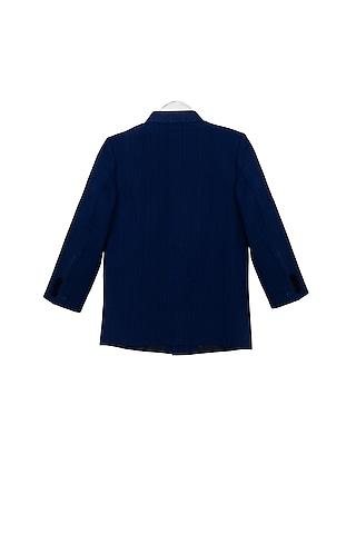 Royal Blue Striped Bandhgala Jacket by Little Stars
