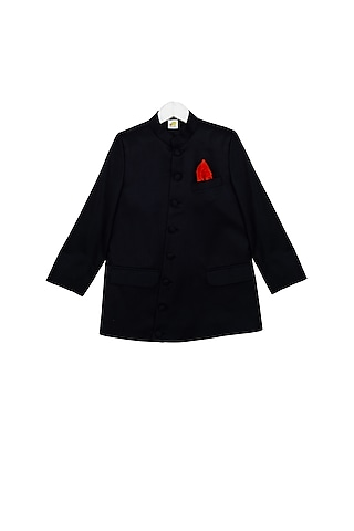 Black Striped Bandhgala Jacket by Little Stars