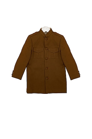 Light Brown Bandhgala Jacket by Little Stars