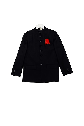 Black Bandhgala Jacket With Metal Buttons by Little Stars