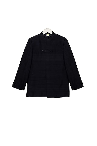 Black Concealed Bandhgala Jacket by Little Stars