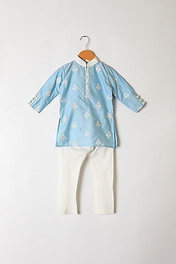 Powder Blue Floral Embroidered Kurta Set by Little Stars