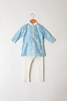 Powder Blue Floral Embroidered Kurta Set by Little Stars
