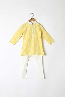 Yellow Floral Embroidered Kurta Set by Little Stars