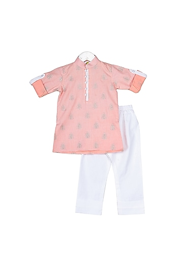 Peach Zari Embroidered Kurta Set by Little Stars