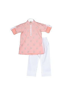 Peach Zari Embroidered Kurta Set by Little Stars