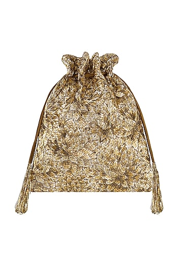 Gold Embroidered Potli With Drawstrings by Lovetobag