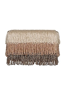 Nude Embroidered Flapover Clutch by Lovetobag