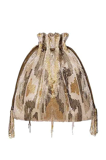 Gold Beaded Embroidered Potli by Lovetobag