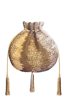 Gold Embroidered Potli With Beaded Tassels by Lovetobag