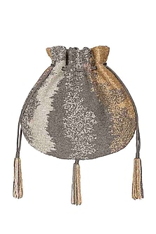 Silver Embroidered Potli With Beaded Tassels by Lovetobag