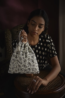 Silver Embroidered Handmade Potli by Lovetobag