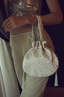 Ivory Embroidered Handmade Potli by Lovetobag