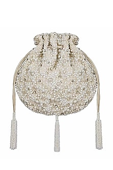 Ivory Beaded Embroidered Potli by Lovetobag